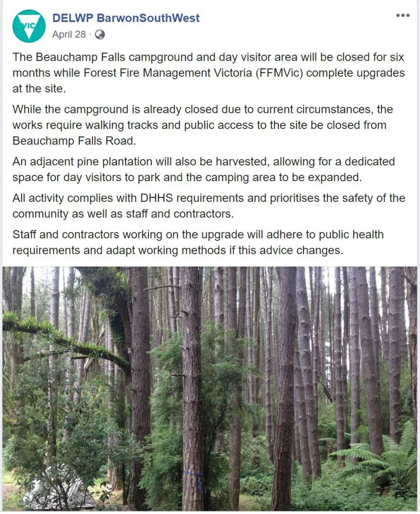 Beauchamp Falls closed